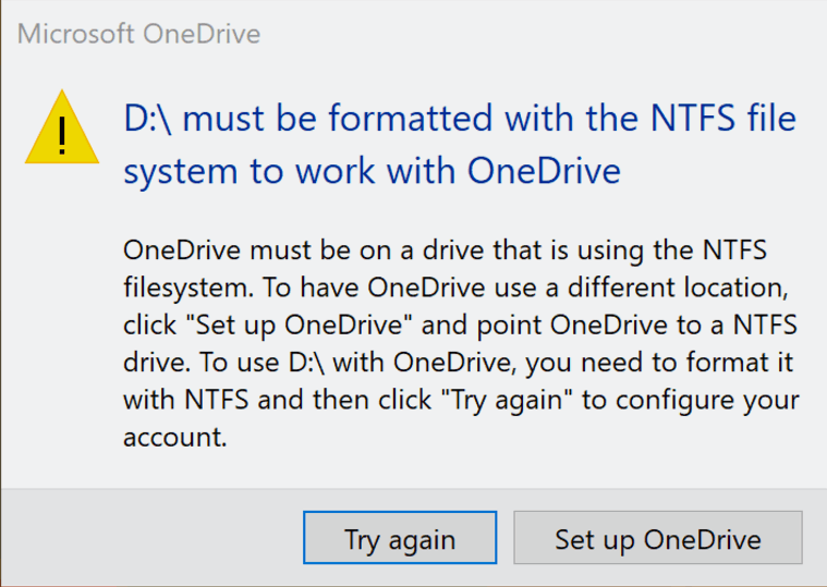 OneDrive Error Message